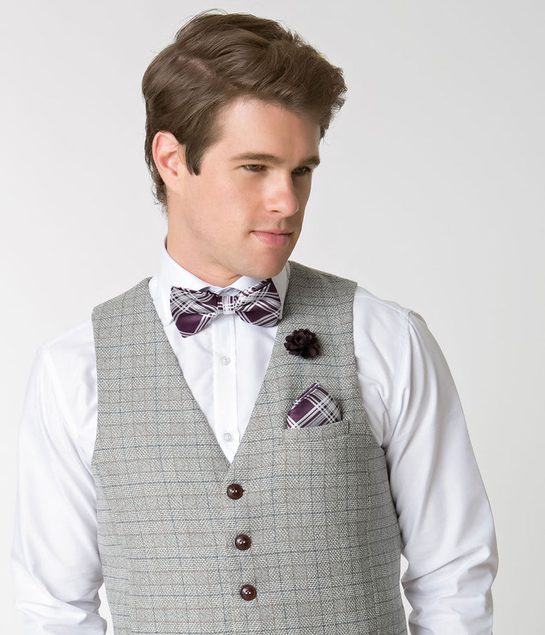 Dark Purple & White Plaid Bow Tie & Lapel Pin Set