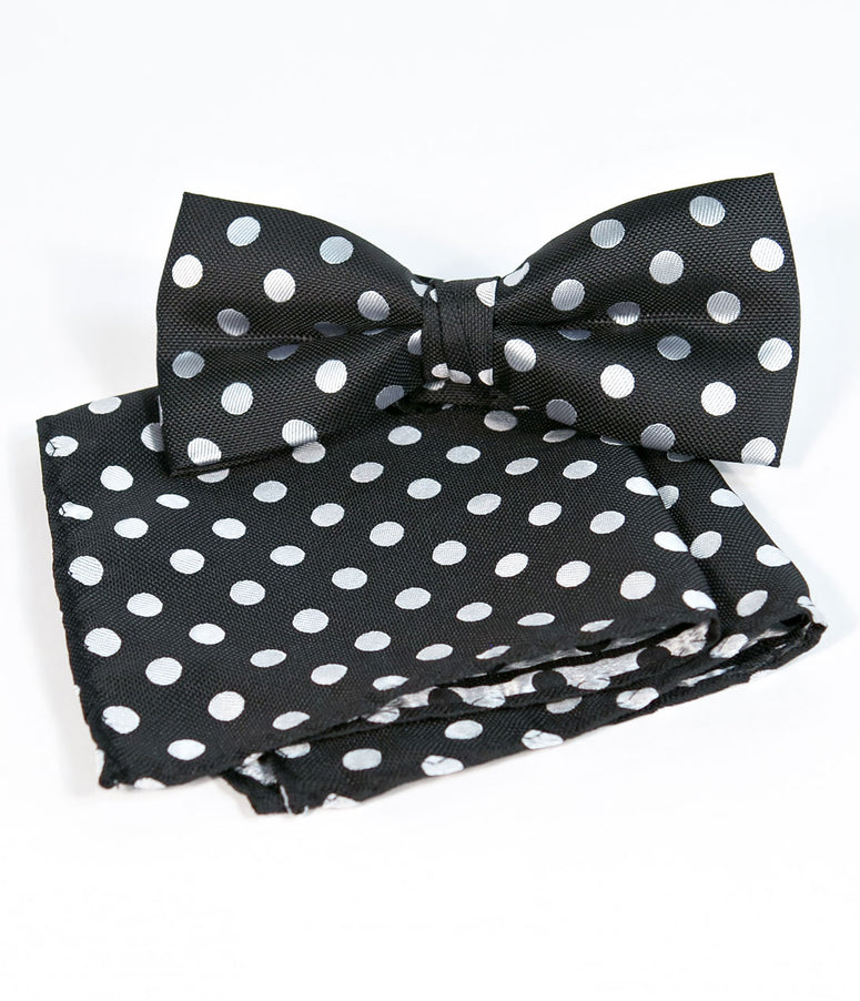 Retro Style Black & White Polka Dot Bow Tie & Pocket Square