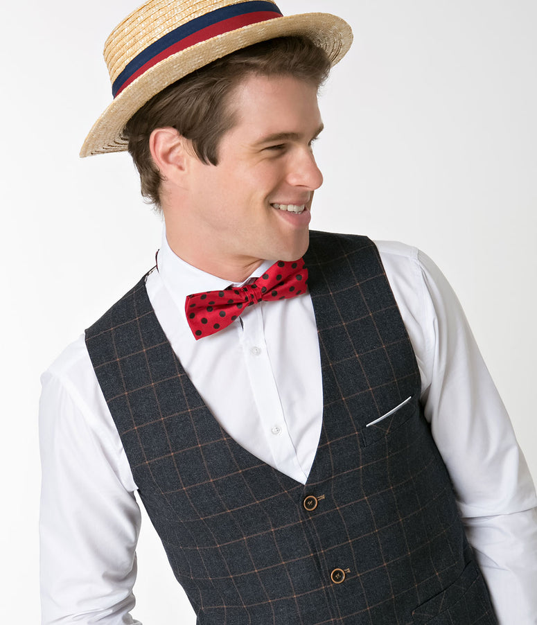 Retro Style Red & Black Polka Dot Bow Tie & Pocket Square