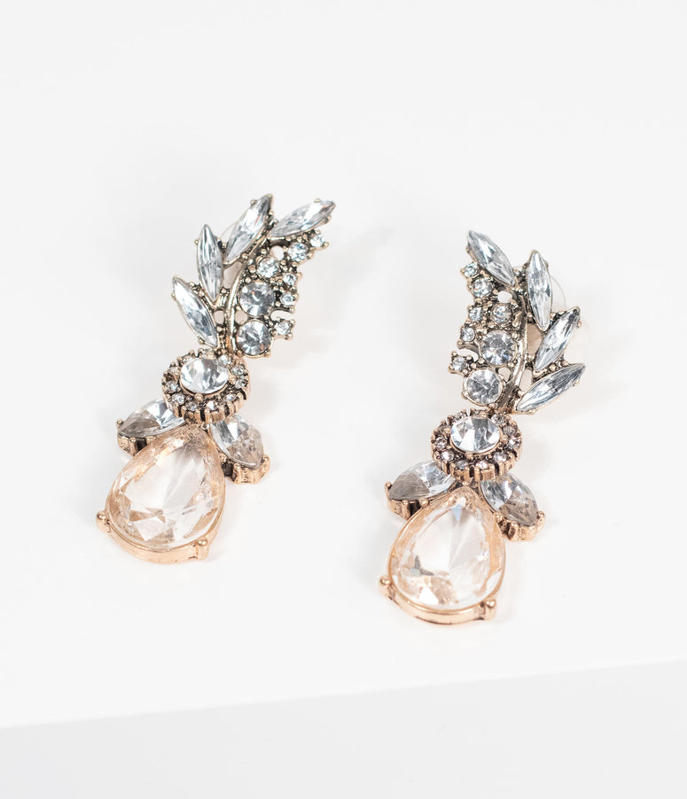 Deco Style Silver Rhinestone & Gem Leaf Drop Earrings