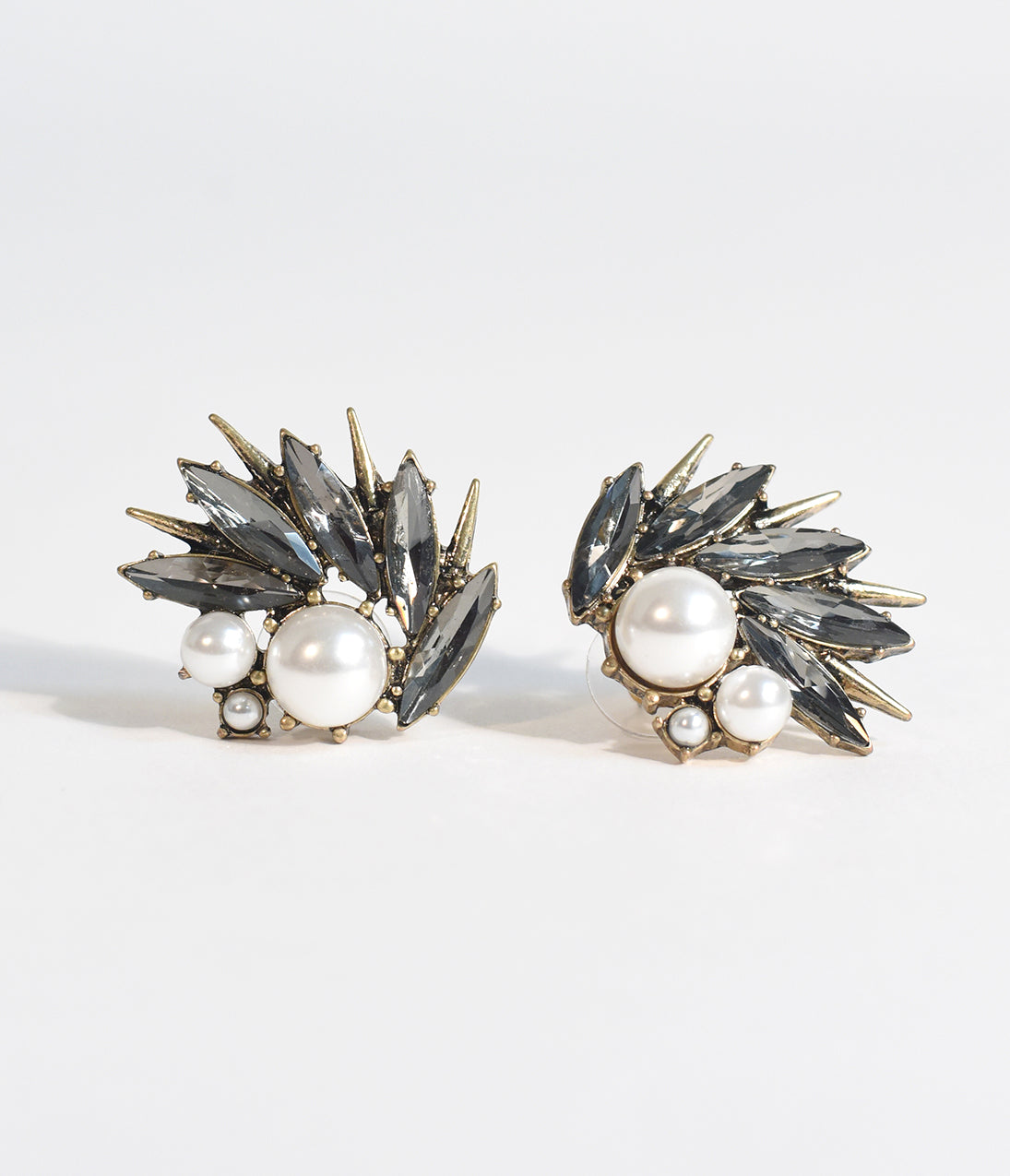 Vintage Style Jewelry, Retro Jewelry Deco Style Pearl  Dark Gem Thistle Stud Earrings $22.00 AT vintagedancer.com
