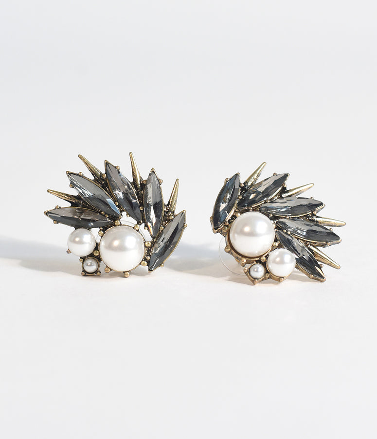 Deco Style Pearl & Dark Gem Thistle Stud Earrings