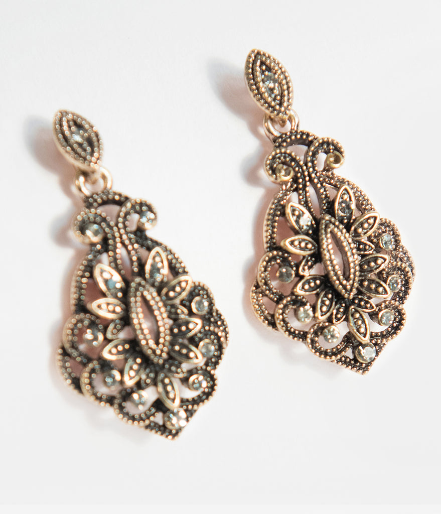 Antique Gold Deco Rhinestone Gala Drop Earrings