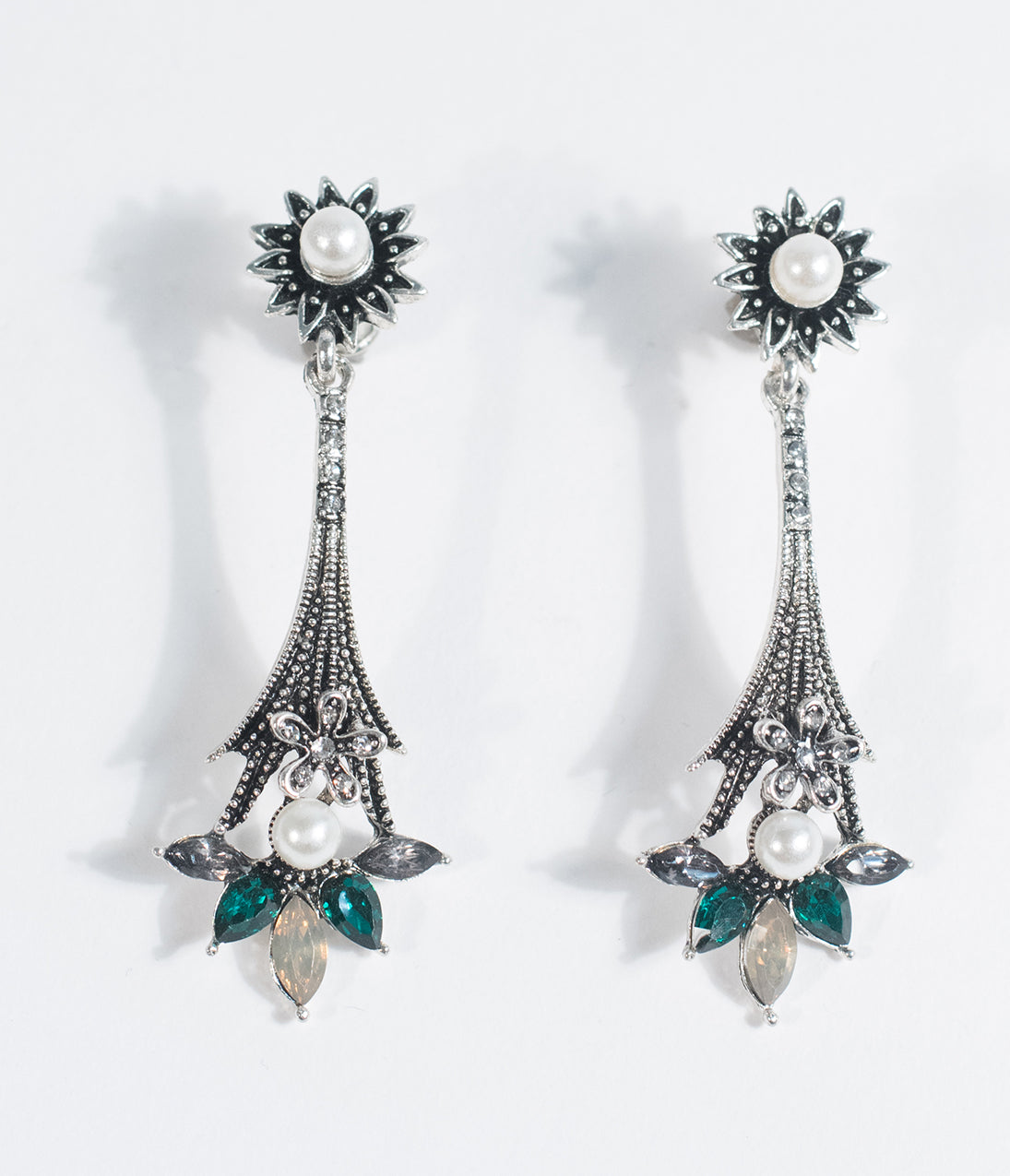 1920s Jewelry Styles History Silver Pearl  Emerald Gem Drop Earrings $18.00 AT vintagedancer.com