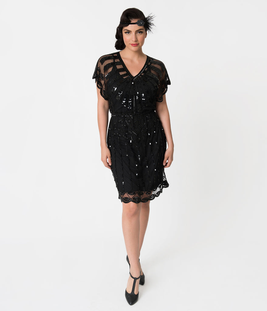 1920s Style Black Bead Embellished Deco Angel Sleeve Flapper Dress