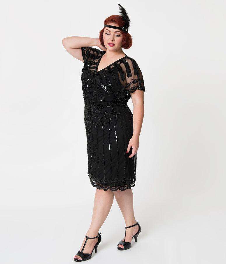1920s Style Plus Size Black Bead Embellished Deco Angel Sleeve Flapper Dress