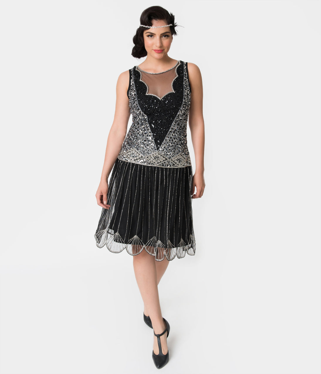 1920s Style Dresses, Flapper Dresses 1920S Style Black  Silver Beaded Deco Elaina Flapper Dress $148.00 AT vintagedancer.com