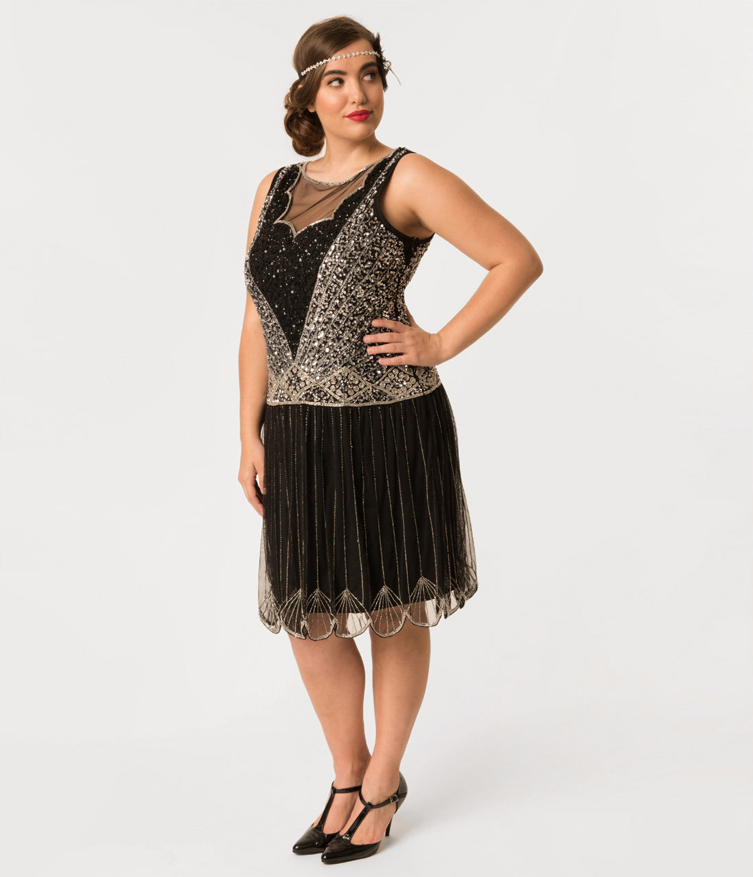 1920s Style Dresses, Flapper Dresses Plus Size 1920S Style Black  Silver Beaded Deco Elaina Flapper Dress $148.00 AT vintagedancer.com