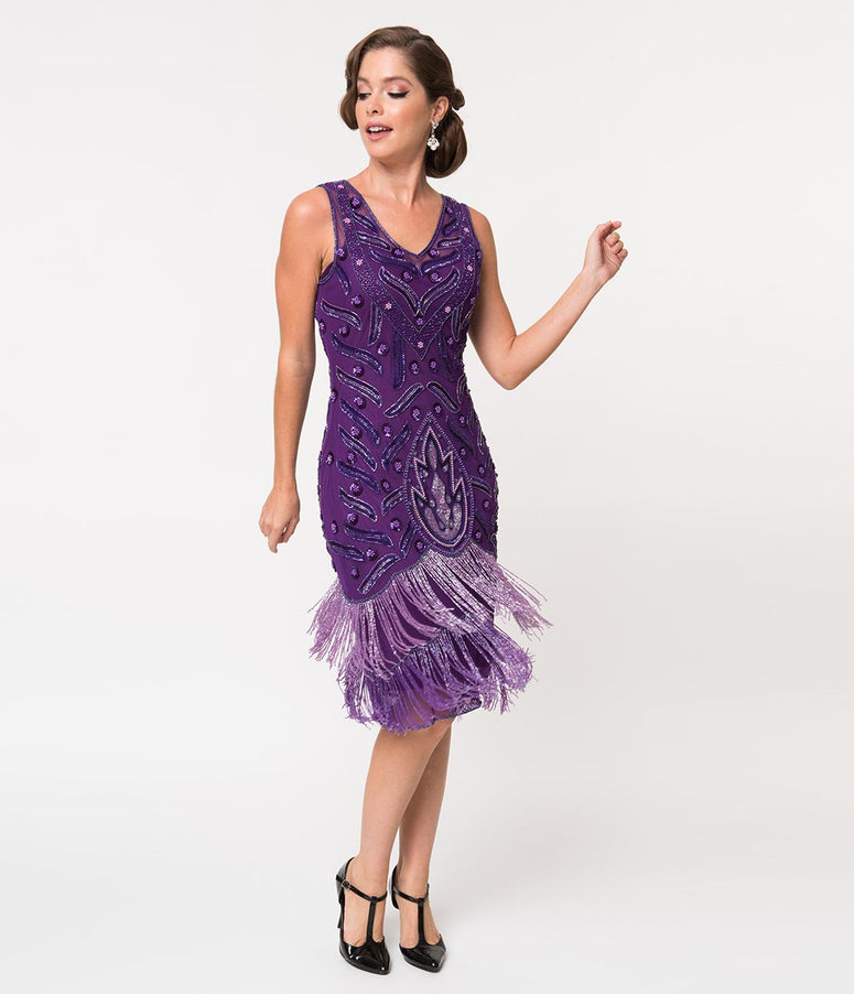 1920s Style Purple Beaded Fringe Sleeveless Hollywood Cocktail Dress