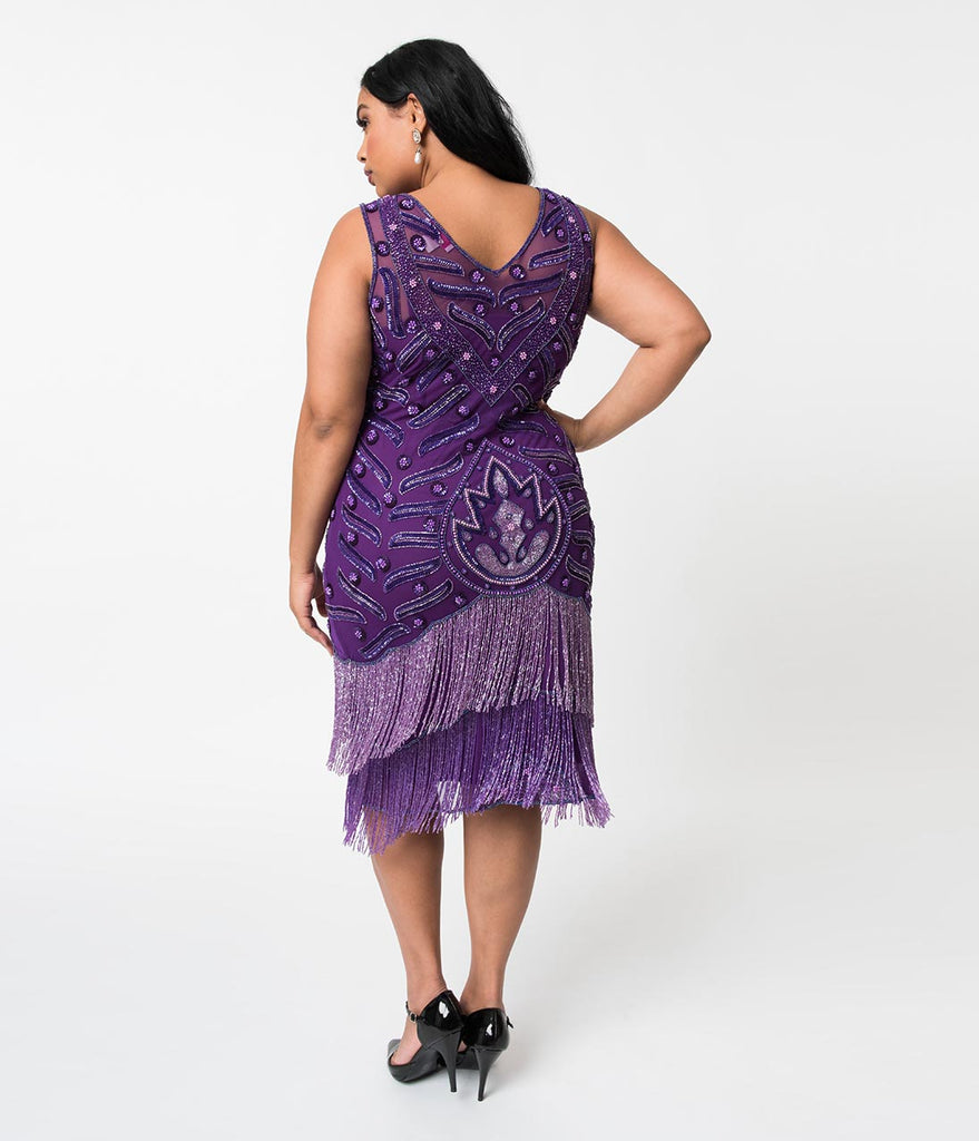 5bdf4d828a2 ... Plus Size 1920s Style Purple Beaded Fringe Sleeveless Hollywood Cocktail  Dress ...