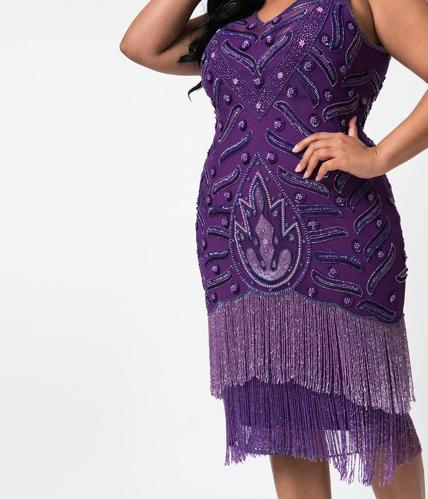 Plus Size 1920s Style Purple Beaded Fringe Sleeveless Hollywood Cocktail Dress