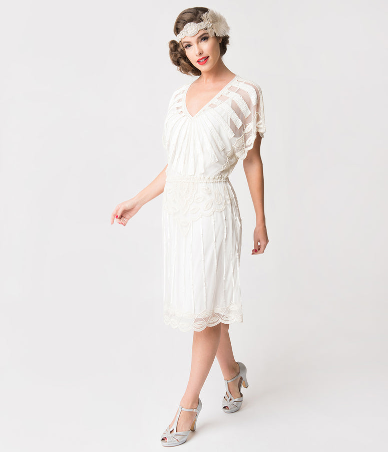 1920s Style White Bead Embellished Deco Angel Sleeve Flapper Dress