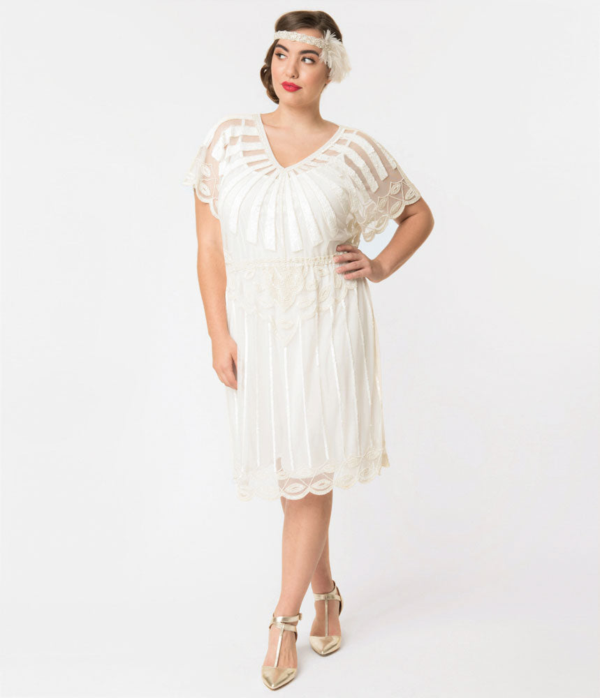 Vintage Inspired Wedding Dress | Vintage Style Wedding Dresses Plus Size 1920S Style White Bead Embellished Deco Angel Sleeve Flapper Dress $138.00 AT vintagedancer.com