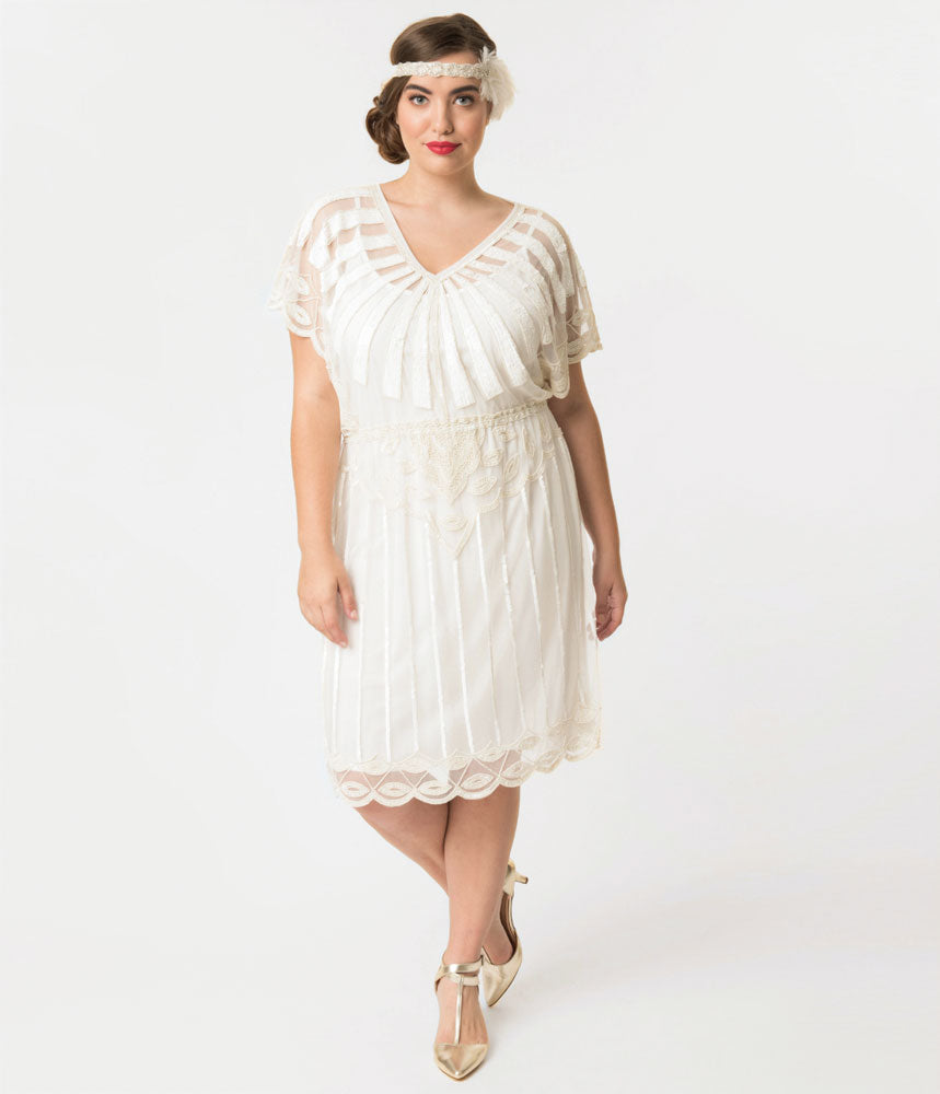 Plus Size 1920s Style White Bead Embellished Deco Angel Sleeve Flapper Dress