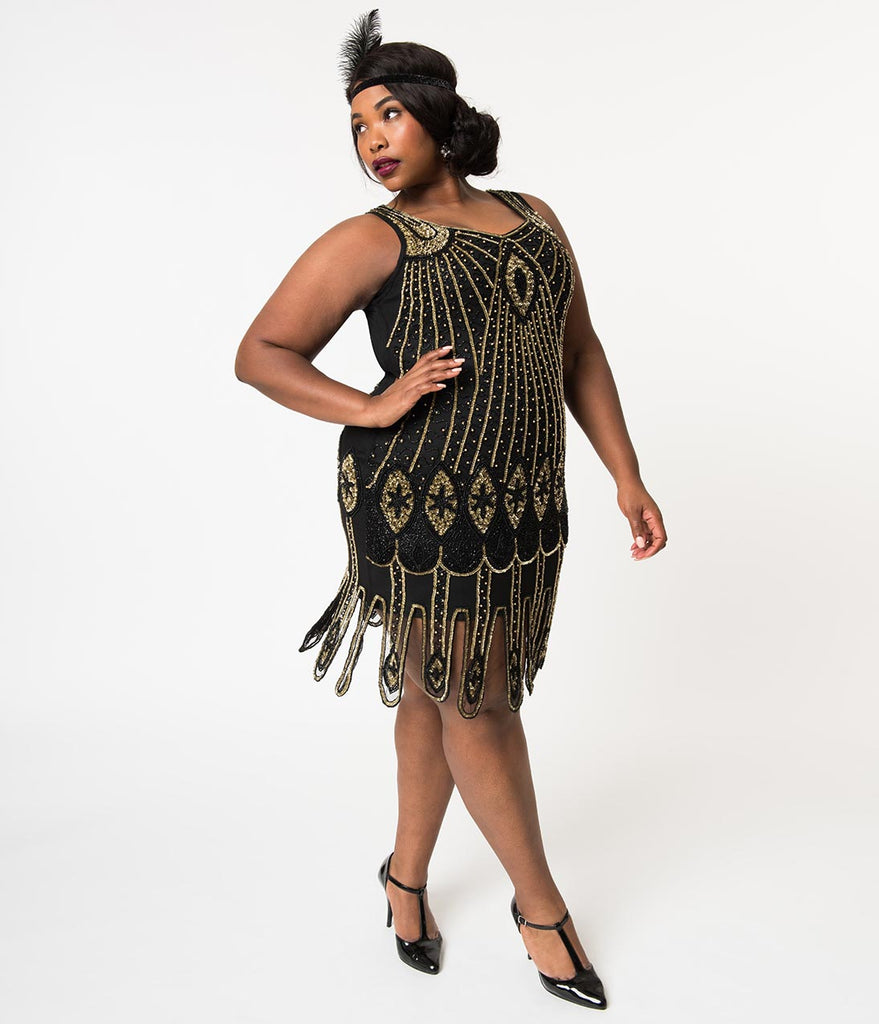 Plus Size 1920s Black & Gold Beaded Deco Molly Flapper Dress