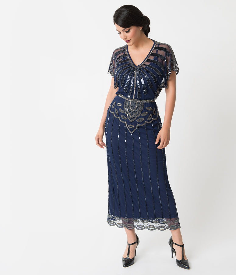 1920s Navy Blue Beaded Deco Angelina Maxi Flapper Dress
