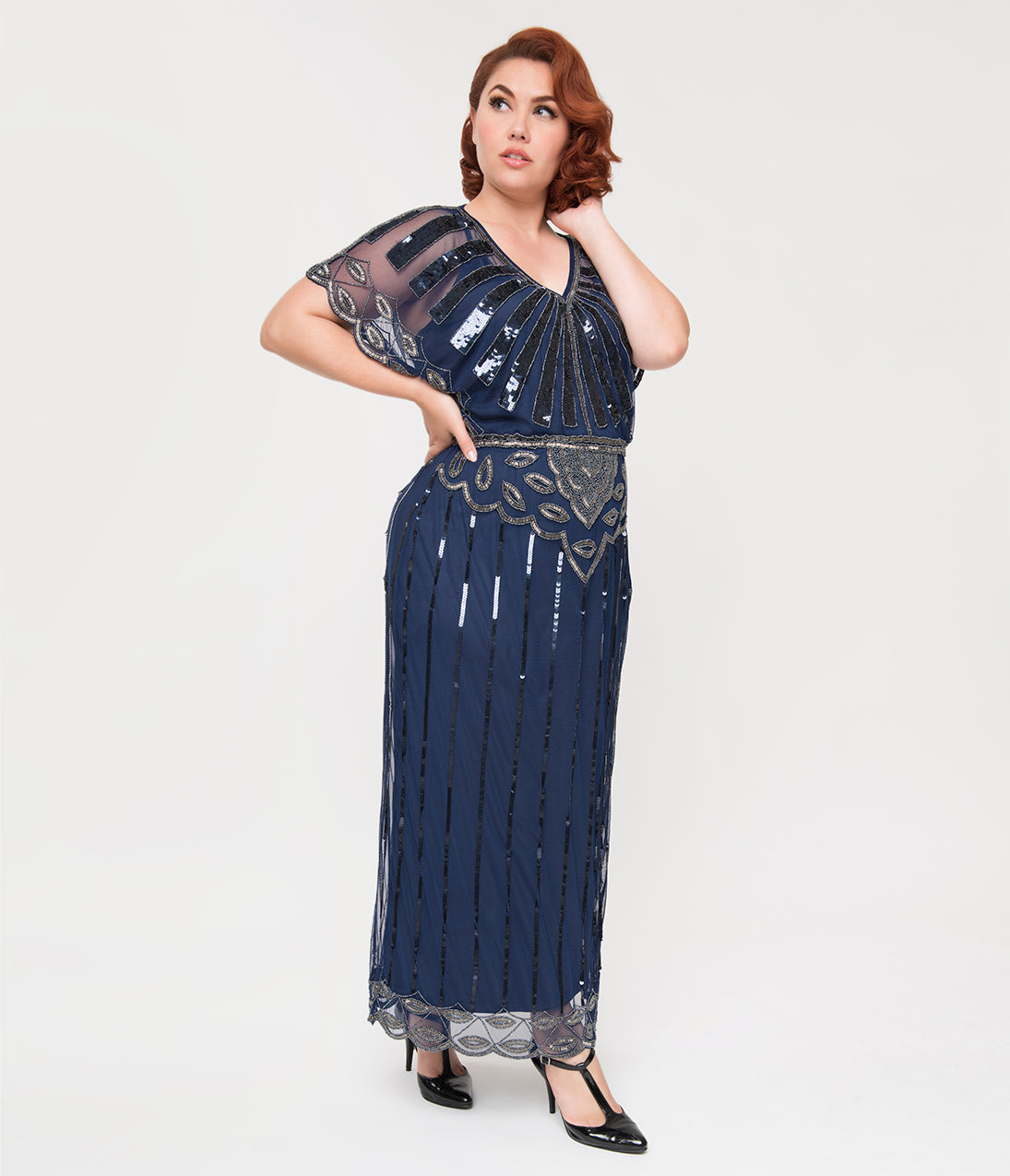1930s Art Deco Plus Size Dresses | Tea Dresses, Party Dresses Plus Size 1920S Navy Blue Beaded Deco Angelina Maxi Flapper Dress $168.00 AT vintagedancer.com