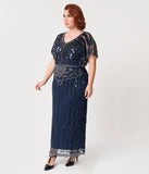 Plus Size 1920s Navy Blue Beaded Deco Angelina Maxi Flapper Dress