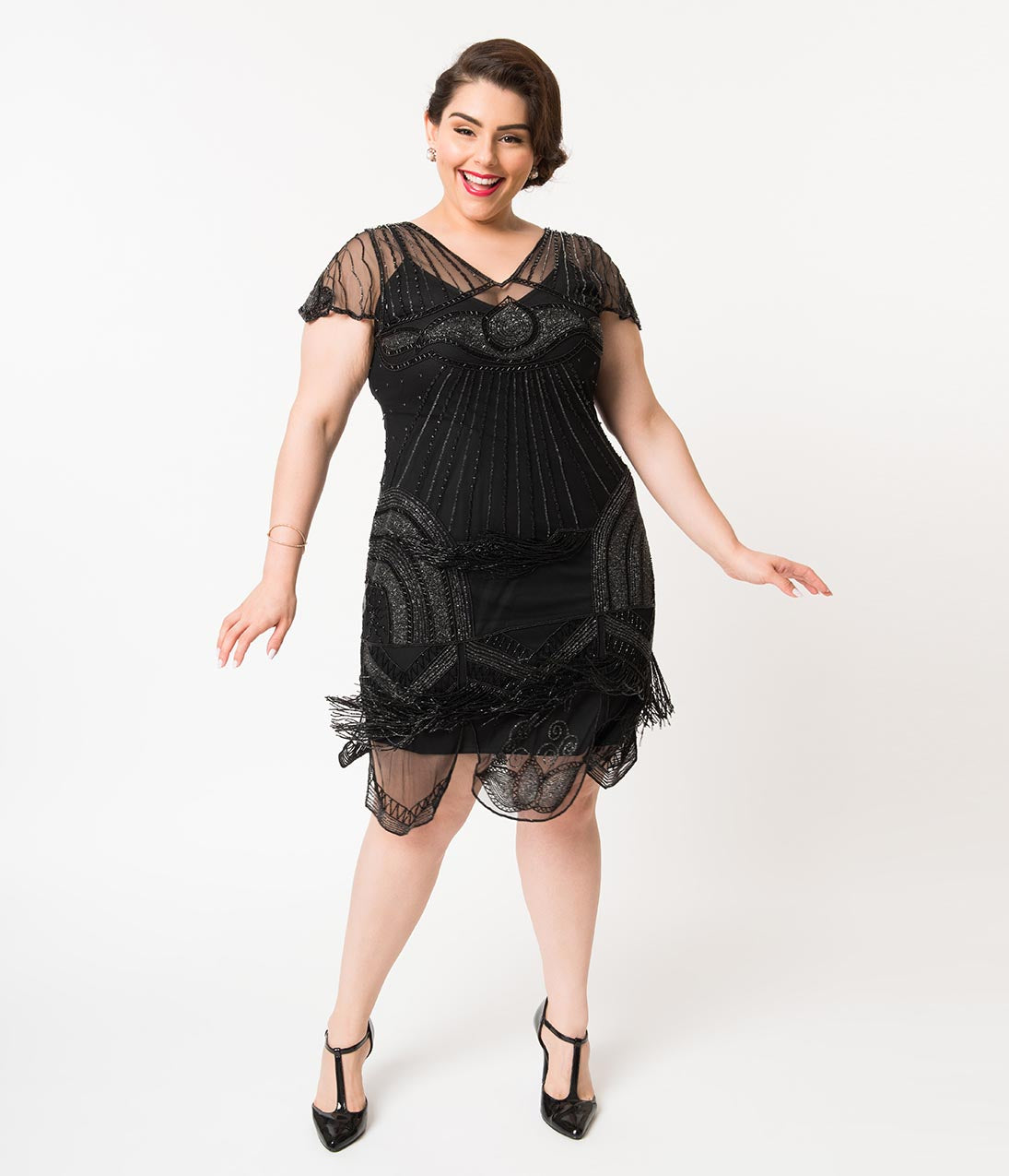 Roaring Twenties 20s Fashion Guide Plus Size 1920S Style Black Beaded Deco Cap Sleeve Beatrice Flapper Dress $198.00 AT vintagedancer.com