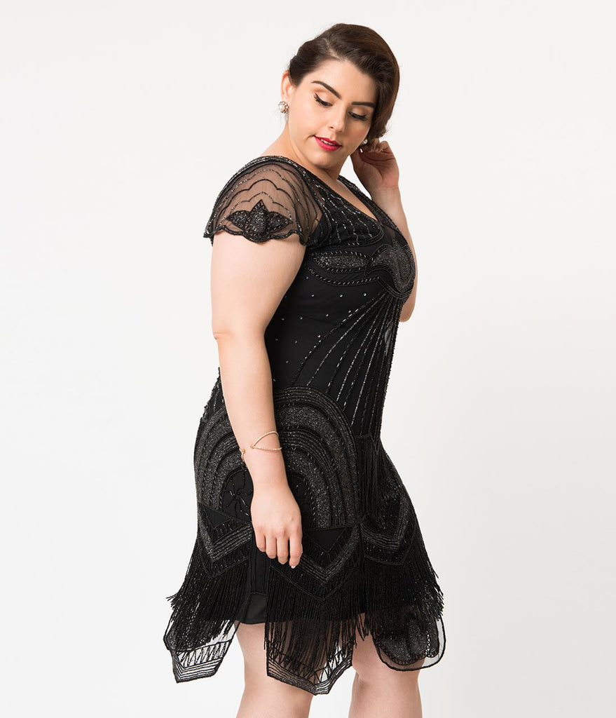 02ae44c5db1 ... Plus Size 1920s Style Black Beaded Deco Cap Sleeve Beatrice Flapper  Dress ...