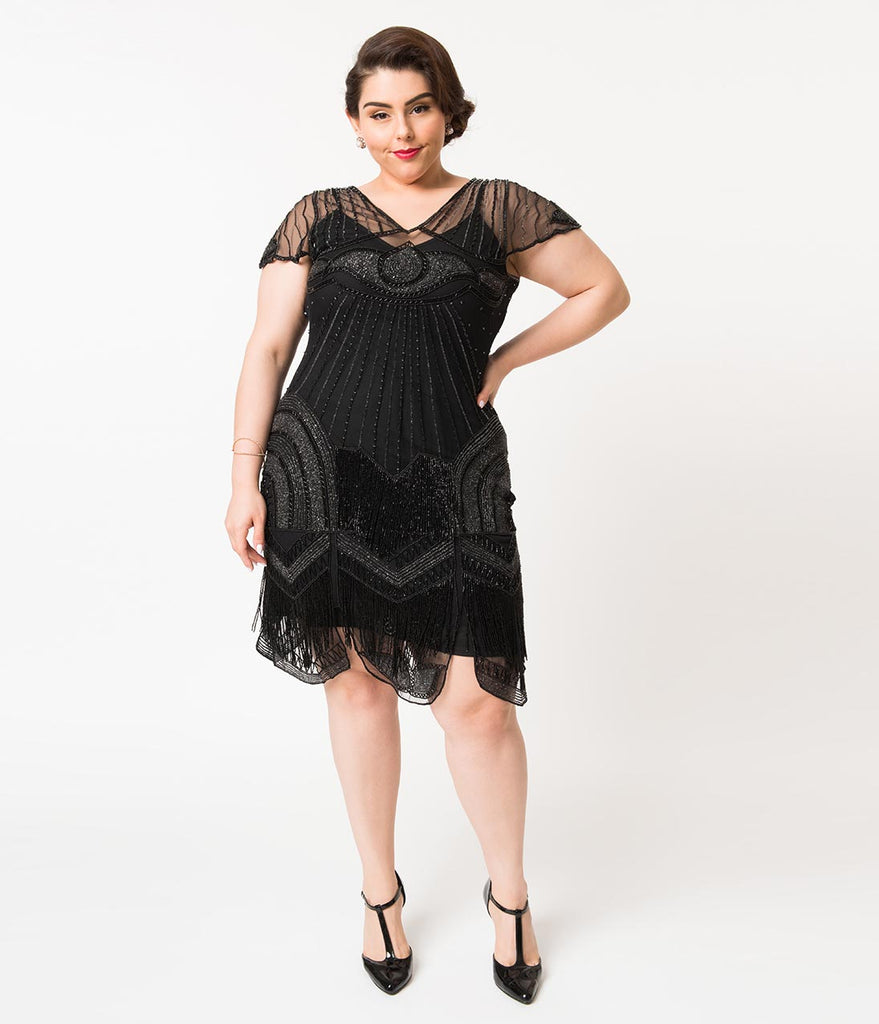 Plus Size 1920s Style Black Beaded Deco Cap Sleeve Beatrice Flapper Dress