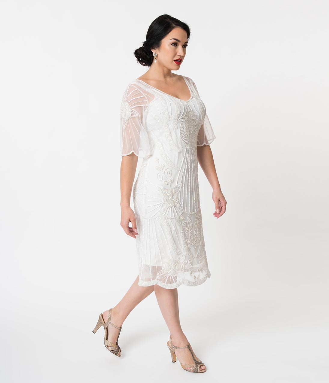 1920s Wedding Dresses- Art Deco Wedding Dress, Gatsby Wedding Dress 1920S Style White Beaded Butterfly Short Sleeve Kate Cocktail Dress $188.00 AT vintagedancer.com