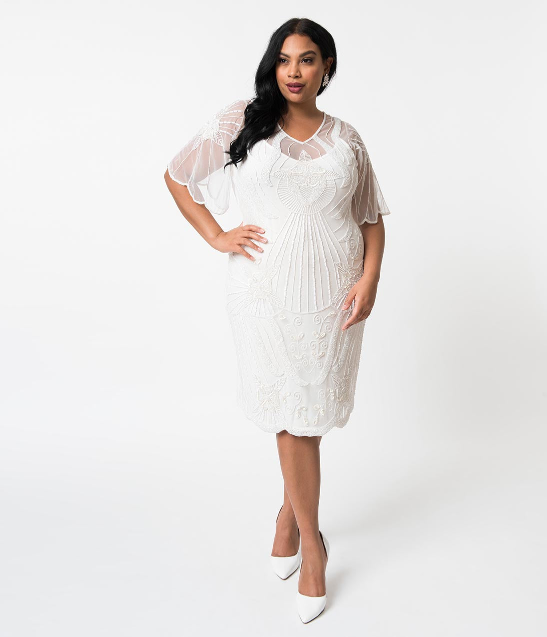 Vintage Style Wedding Dresses, Vintage Inspired Wedding Gowns Plus Size 1920S Style White Beaded Butterfly Short Sleeve Kate Cocktail Dress $82.00 AT vintagedancer.com