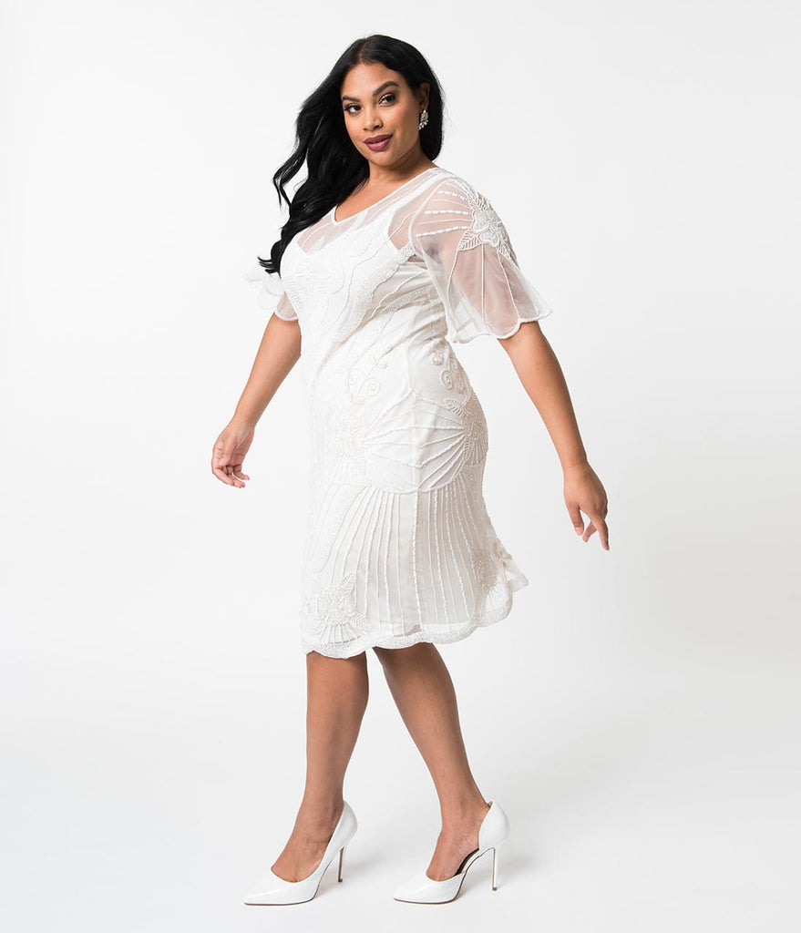 cb5f00ef9b ... Plus Size 1920s Style White Beaded Butterfly Short Sleeve Kate Cocktail  Dress