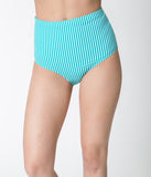 Teal Green & White Striped High Waisted Swim Bottoms