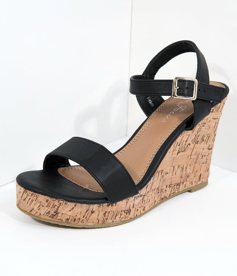 Black Leatherette & Cork Platform Sandals