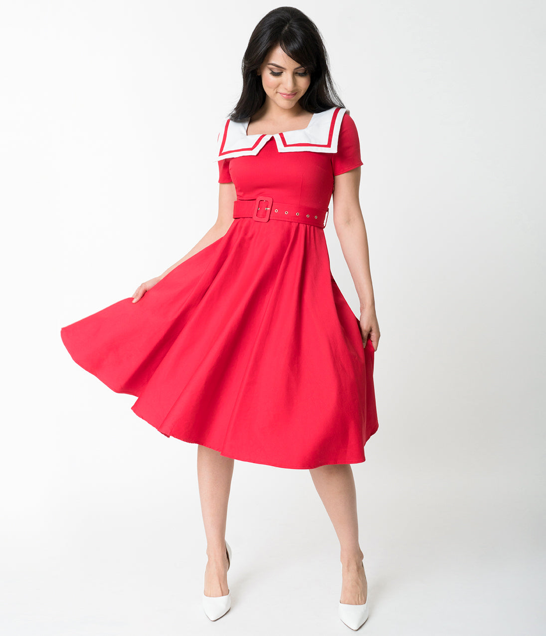Fifties Dresses : 1950s Style Swing to Wiggle Dresses Retro Red Sailor Collar Short Sleeve Swing Dress $21.00 AT vintagedancer.com