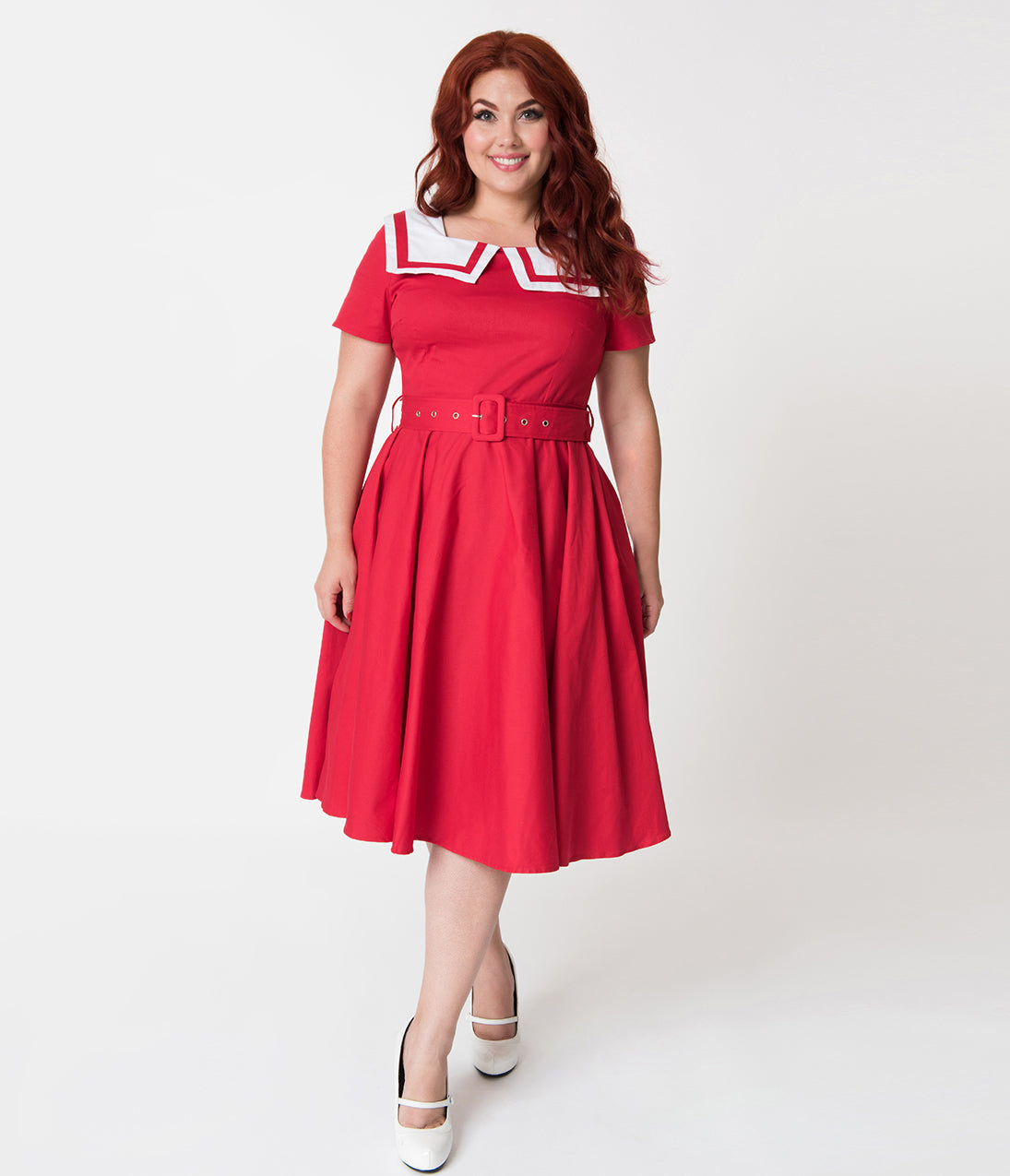 Pin Up Dresses | Pin Up Clothing Plus Size Retro Red Sailor Collar Short Sleeve Swing Dress $68.00 AT vintagedancer.com