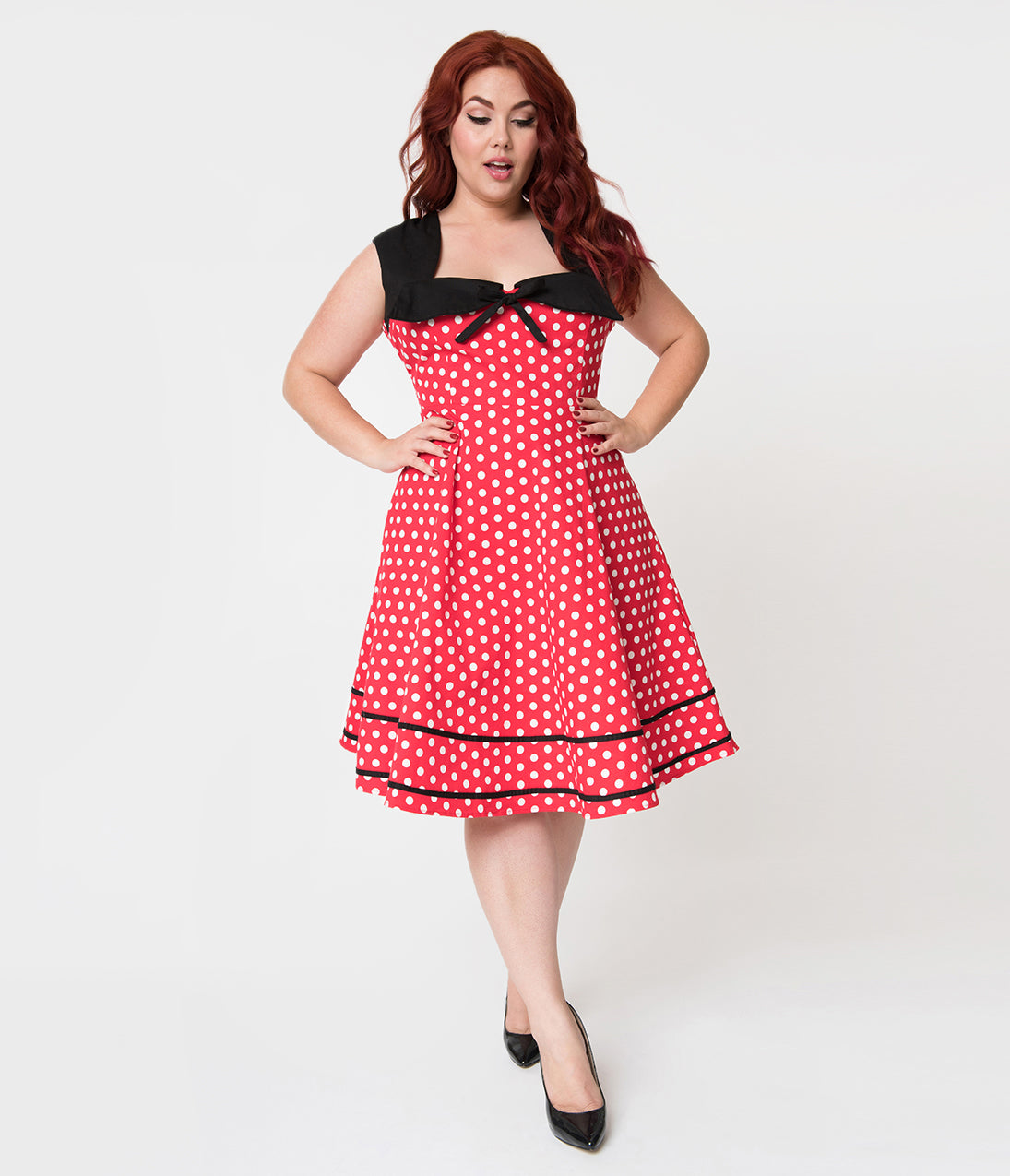 Vintage Polka Dot Dresses – 50s Spotty and Ditsy Prints Plus Size Vintage Style Red  White Polka Dot Cotton Flare Dress $58.00 AT vintagedancer.com