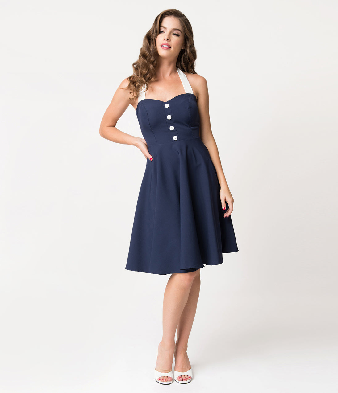 Sailor Dresses, Nautical Dress, Pin Up & WW2 Dresses Navy Blue  White Button Halter Swing Dress $58.00 AT vintagedancer.com