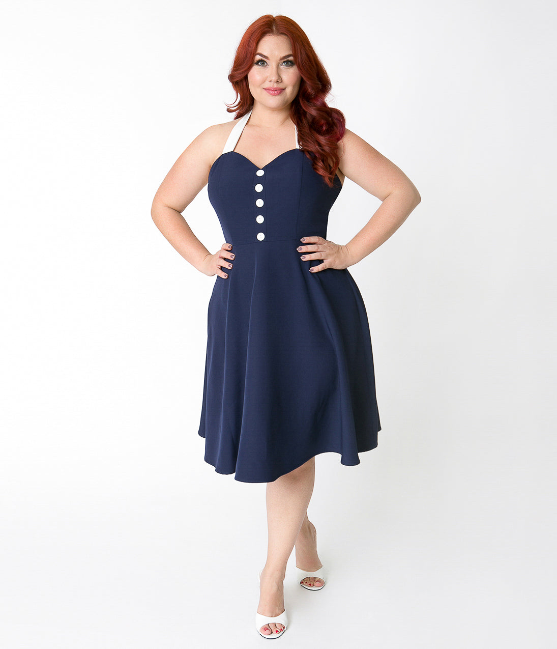 Pin Up Dresses | Pin Up Clothing Plus Size Navy Blue  White Button Halter Swing Dress $58.00 AT vintagedancer.com