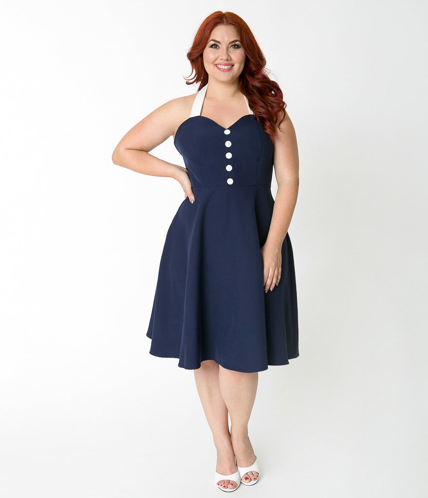 Plus Size Navy Blue & White Button Halter Swing Dress