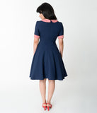 Retro Style Navy Blue & Stripe Short Sleeve Flare Dress