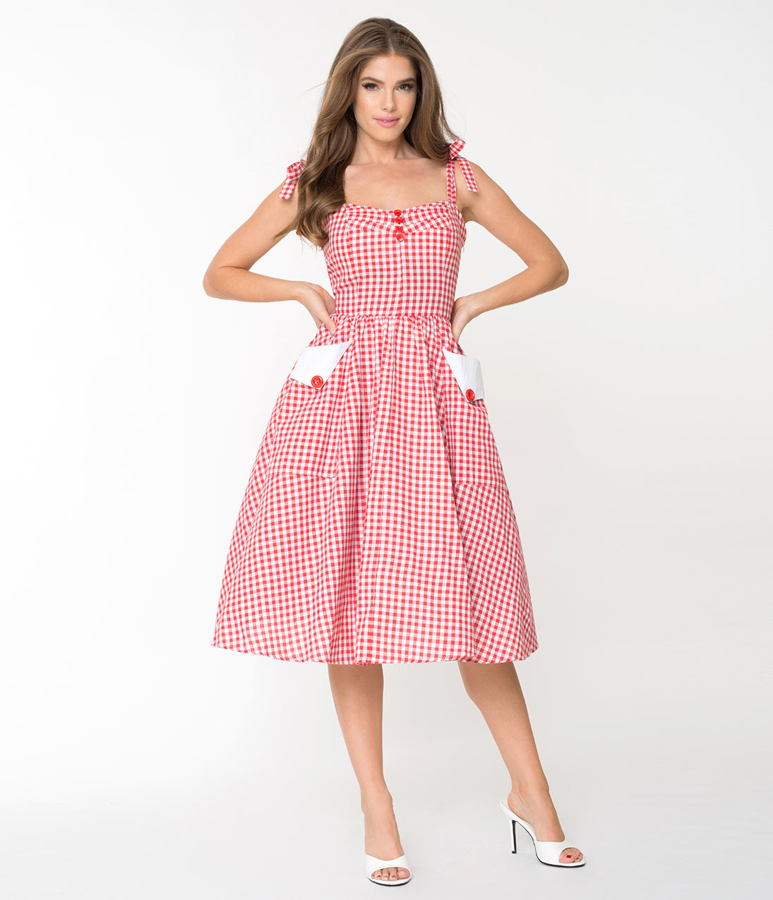 Pin Up Dresses | Pin Up Clothing Red  White Gingham Retro Picnic Sundress $58.00 AT vintagedancer.com