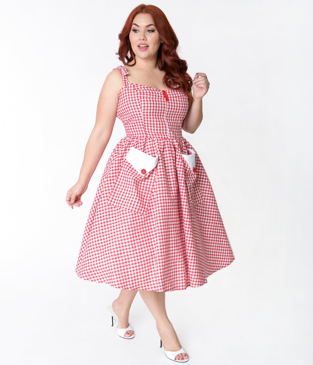 Pin Up Dresses | Pin Up Clothing Plus Size Red  White Gingham Retro Picnic Sundress $58.00 AT vintagedancer.com