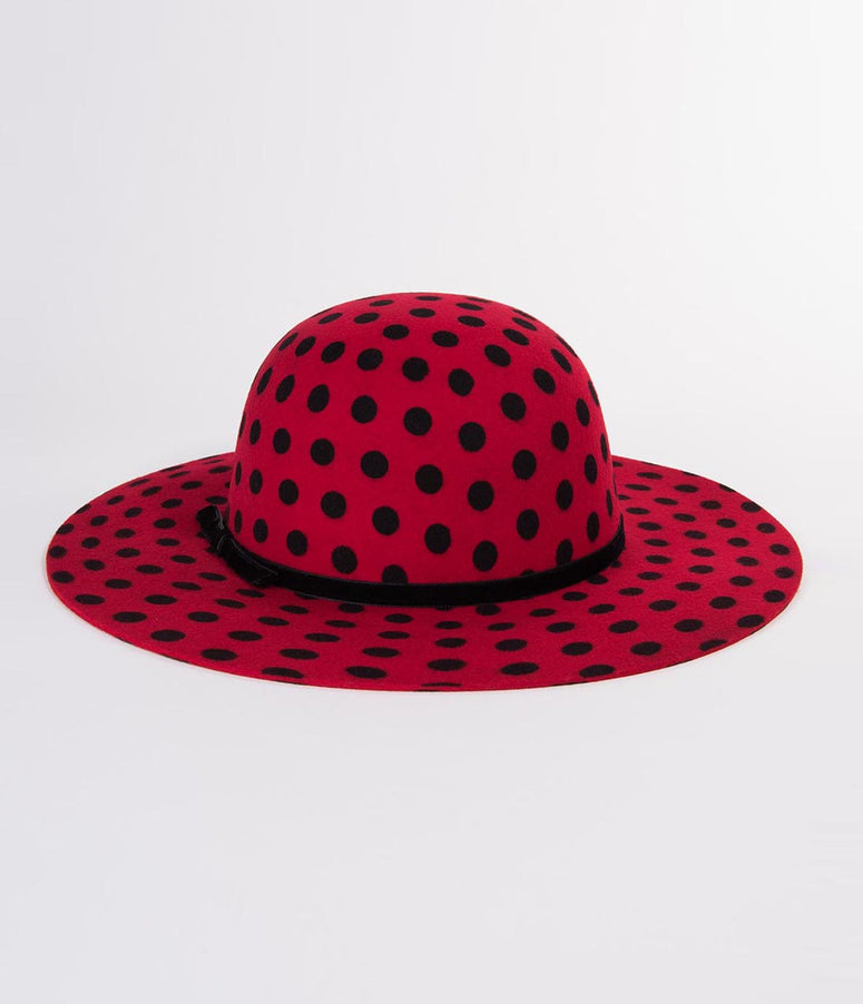 Vintage Style Red & Black Polka Dot Celine Wool Hat