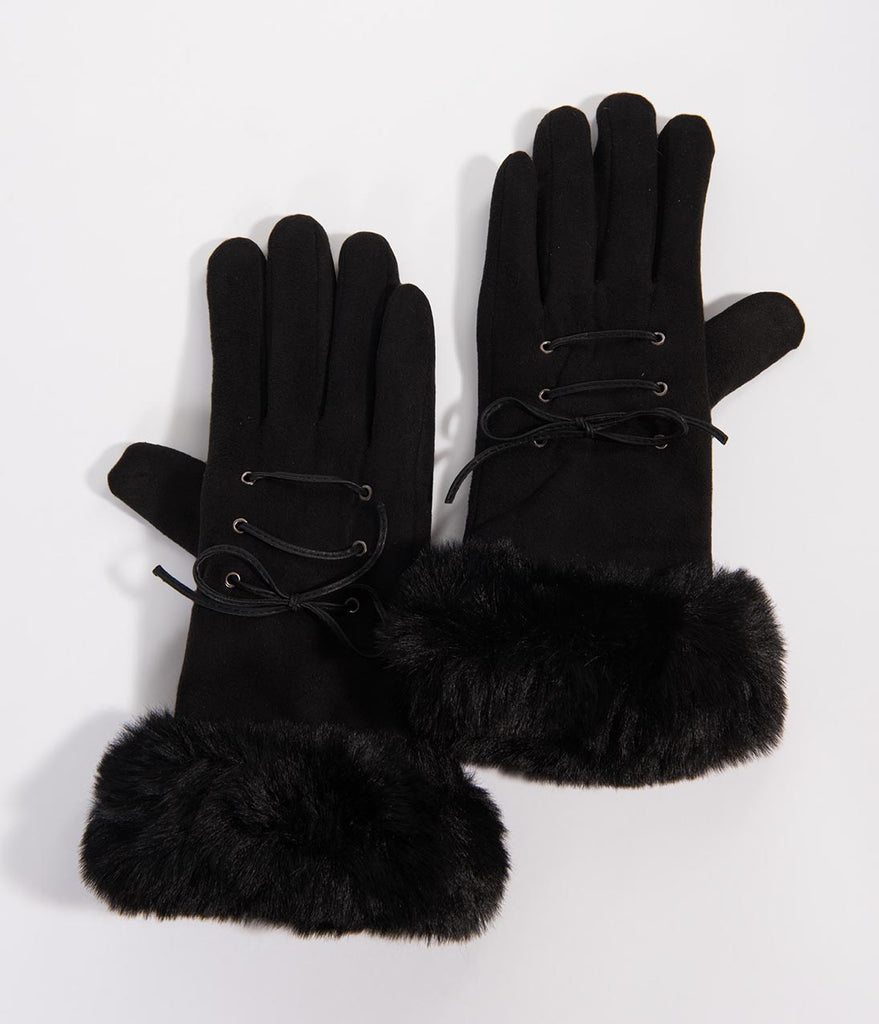 Black Suede & Fur Lace Up Hilton Wrist Gloves