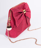 Retro Style Red Glitter & Gold Bow SoHo Crossbody Purse