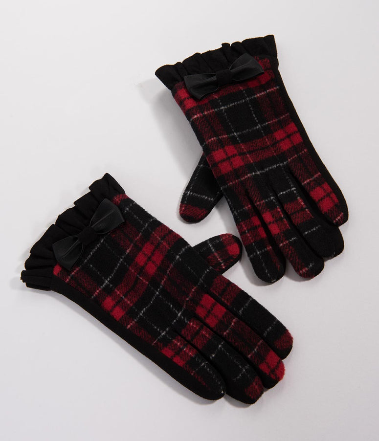 Red Plaid & Bow Cavan Wrist Gloves