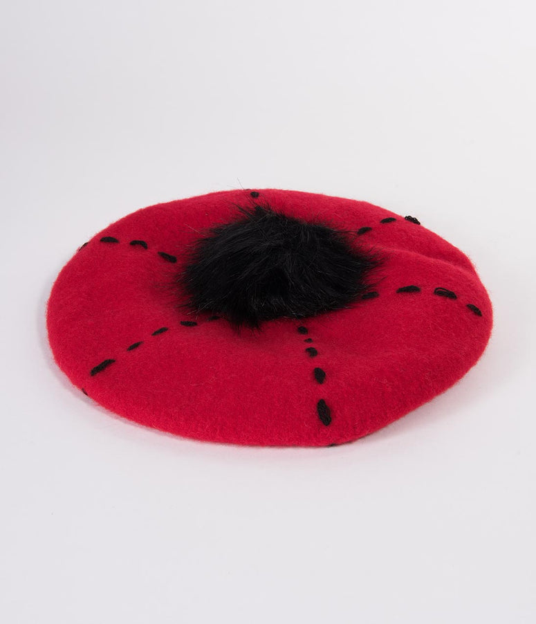 Red Wool & Black Pom Carly Beret