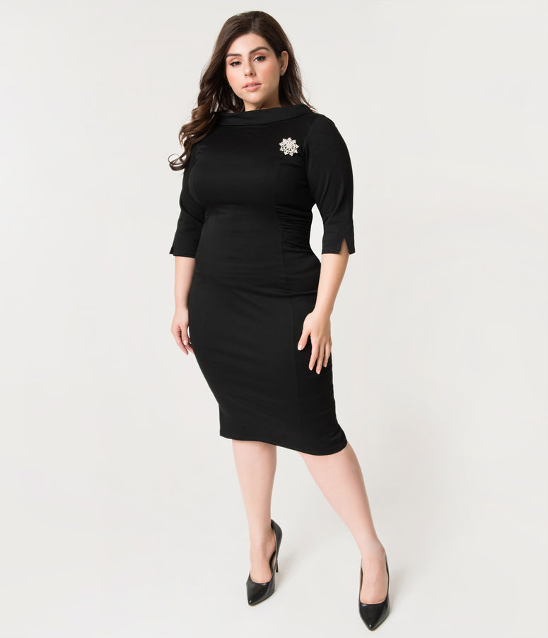 Unique Vintage Plus Size 1960s Black Stretch Sleeved Lucinda Wiggle Dress
