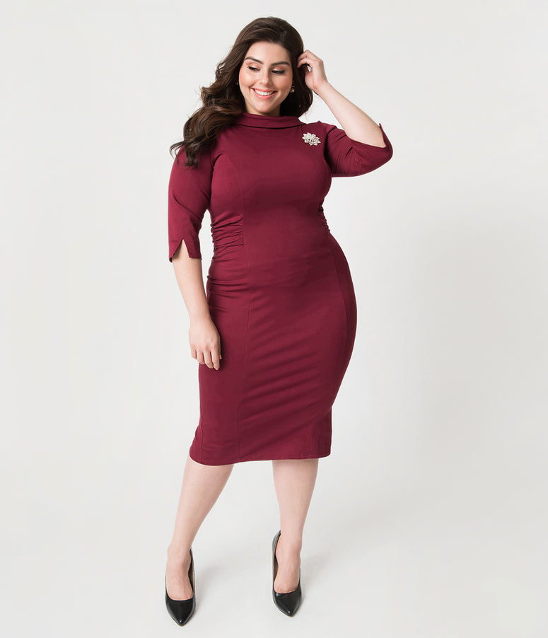 ab9107bdaac Unique Vintage Plus Size 1960s Burgundy Red Stretch Sleeved Lucinda Wiggle  Dress