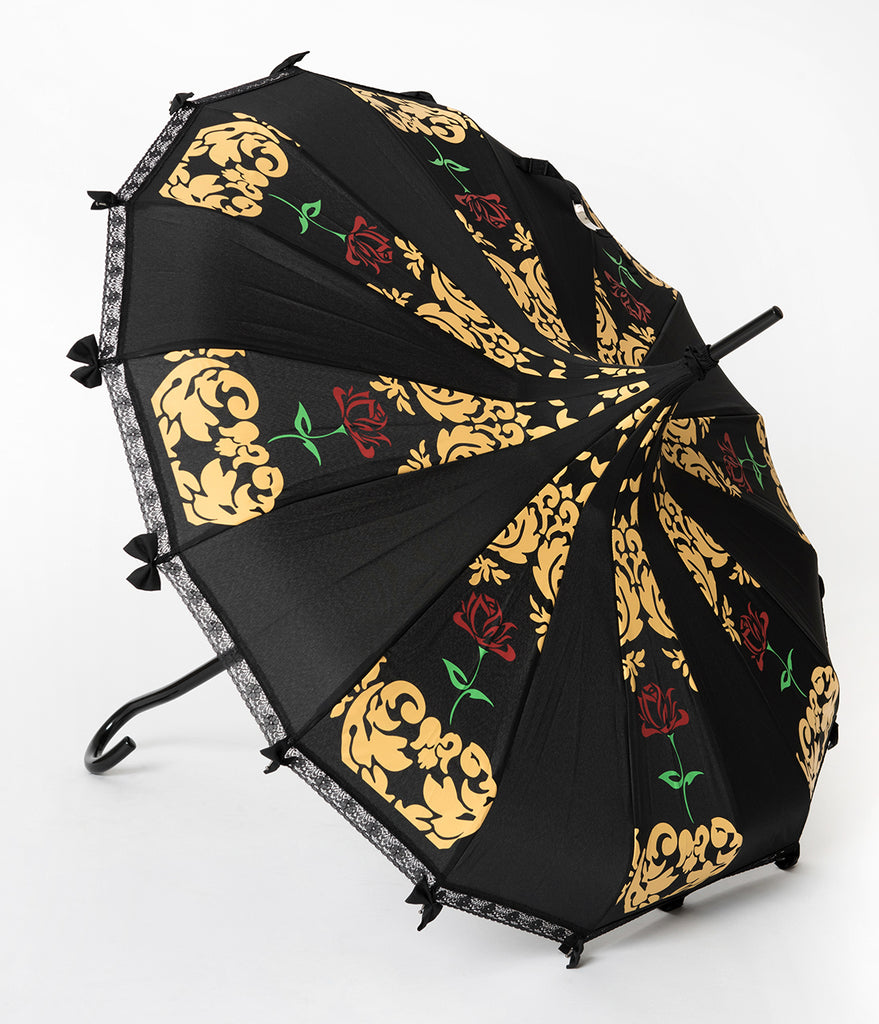 Vintage Style Black & Red Rose Beauty Pagoda Umbrella