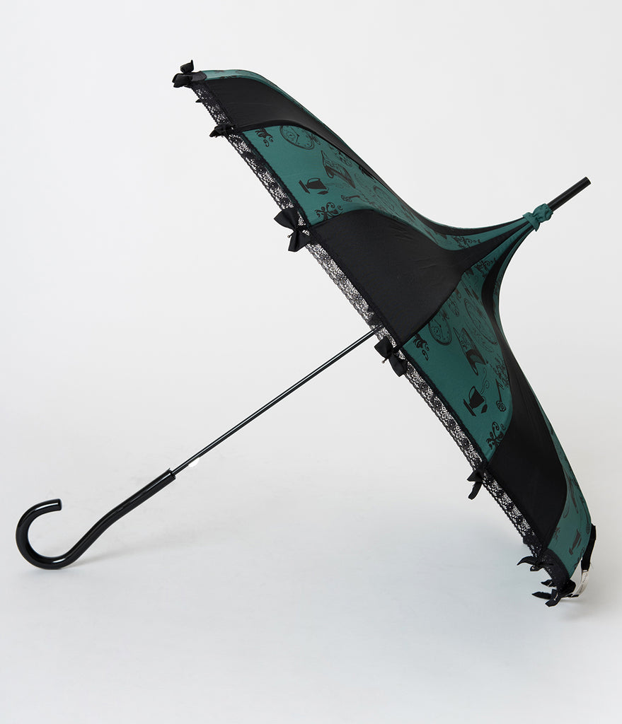 Vintage Style Black & Emerald Green Tea Party Pagoda Umbrella