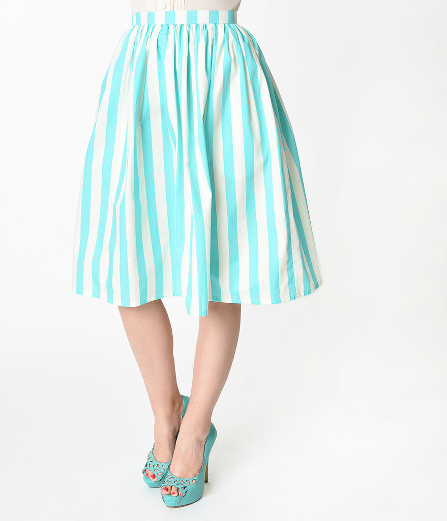 Teal & Ivory Striped Gathered Cotton Swing Skirt