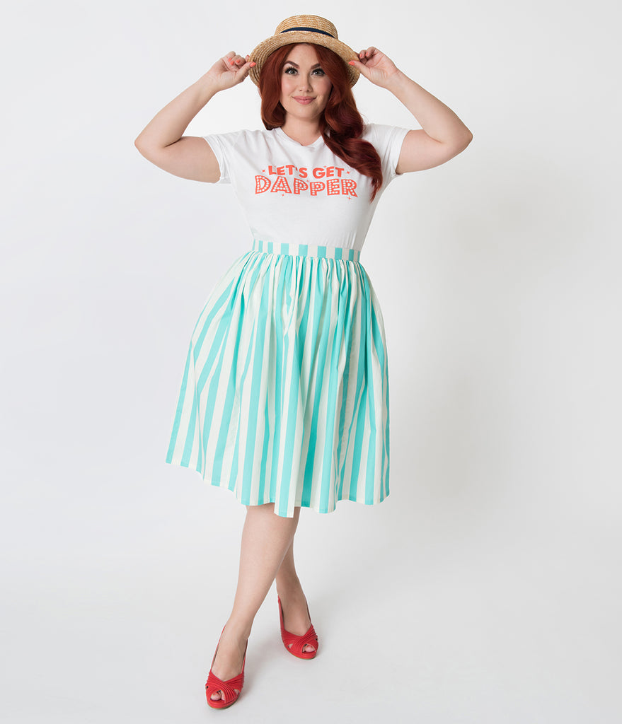 Plus Size Teal & Ivory Striped Gathered Cotton Swing Skirt